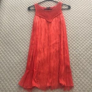 Coral fringe mini dress